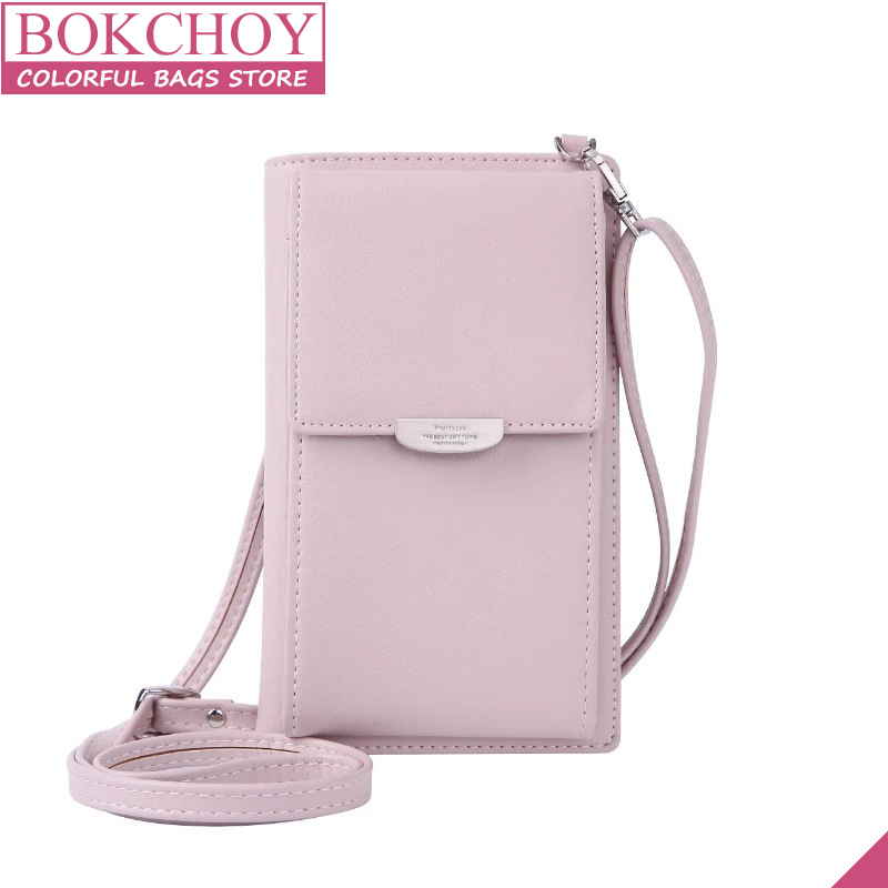 Fashion Women Wallet Long PU Leather Women Purse extra Phone Pocket Wallet with Removable Shoulder Strap 2018 New fashion pu wallet w shoulder strap hand strap brown