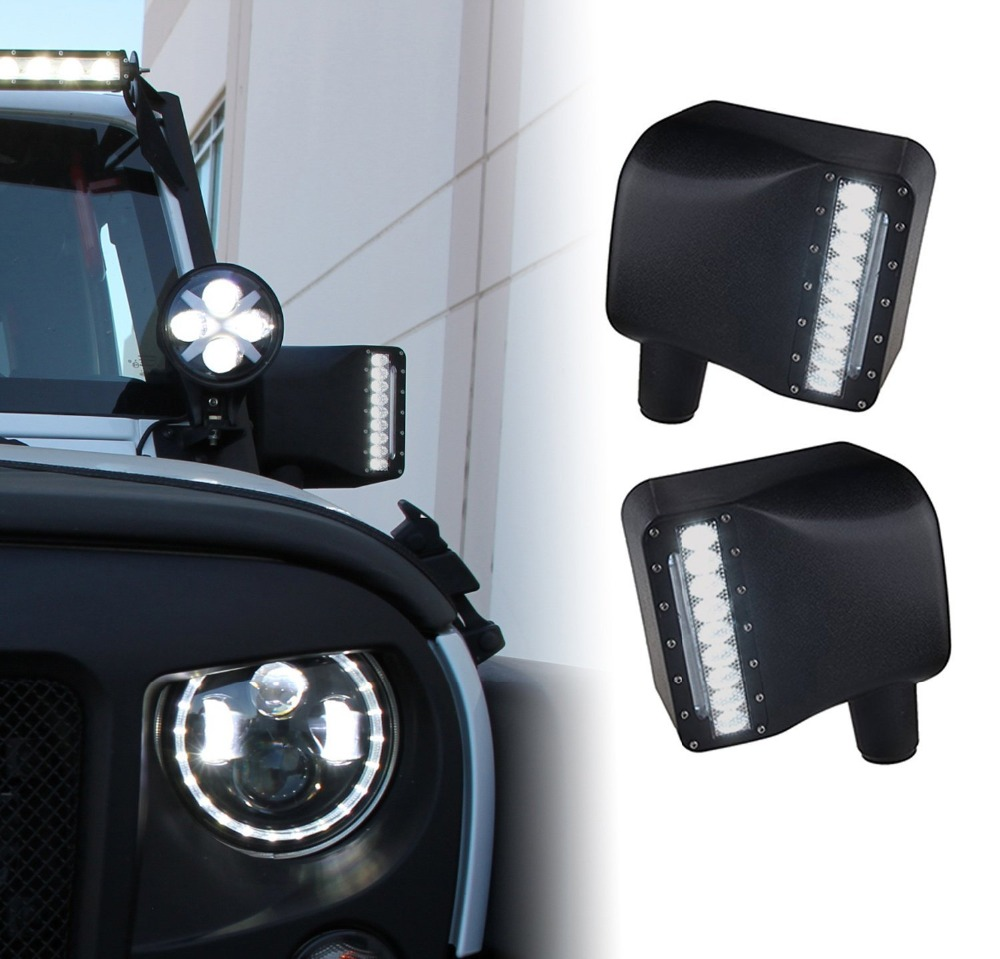 2X For Jeep Wrangler Rear View Side Mirrors Housing Lights with LED Amber Turn Signal w