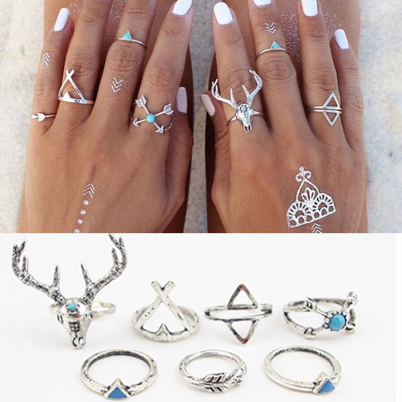 7pcs Set Bohemian Style Vintage Anti Silver Color Rings