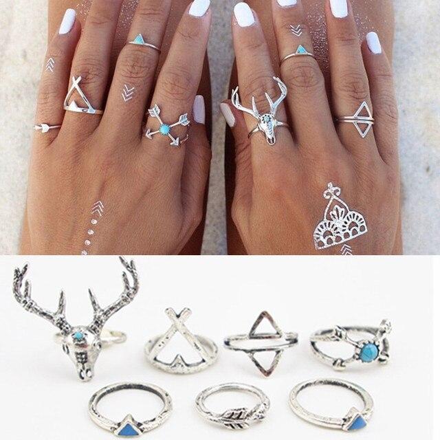 7PCS\SET Bohemian Style Vintage Anti Silver Color Rings stone deer Fawn geometry arrow Rings Set for women J-295