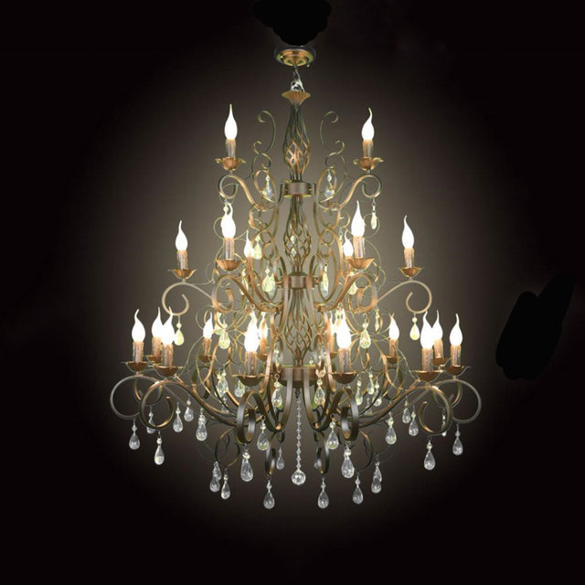 Large 21pcs E14 Res Wrought Iron Chandelier Light Crystal Chandeliers Hanging Lamp Fixture For Hotel