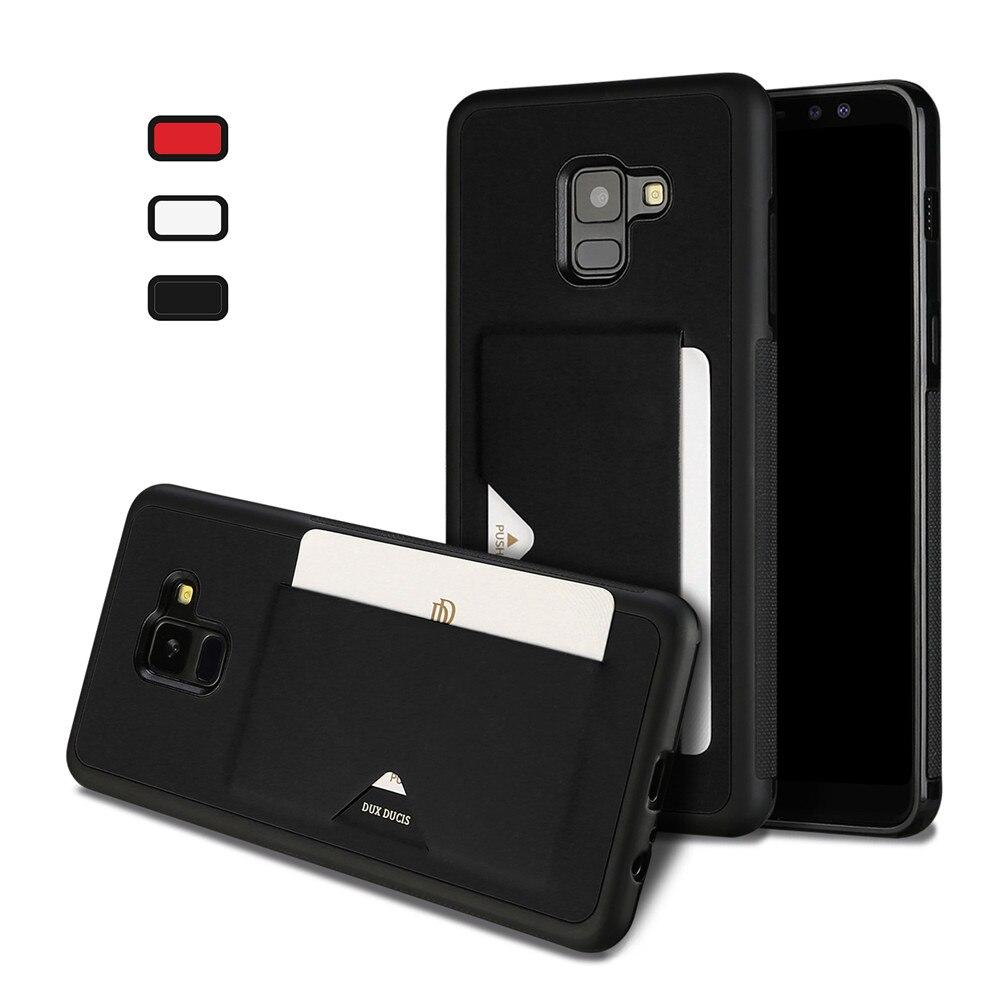 """DUX DUCIS PU кожаный чехол карты для Samsung Galaxy A8 2018 Creidt Слот Бумажник задняя крышка для Galaxy A8 плюс 2018 6,0 """"и 5,6"""""""