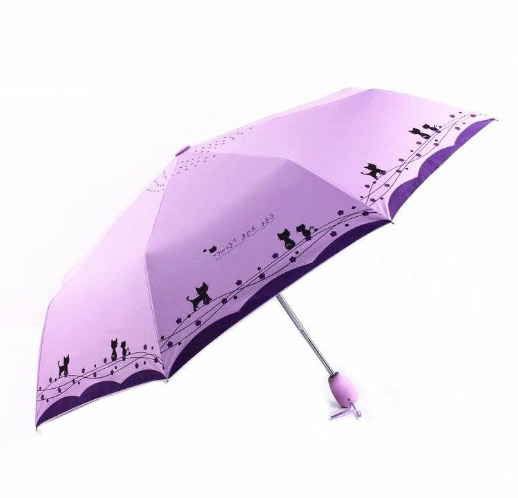 Guarda-chuva Feminino Criativo Gato Bonito Menina Revestimento