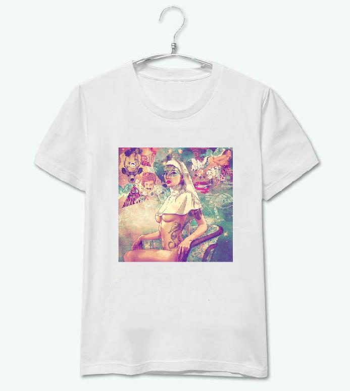 Women Tshirt Street Art Nude Girl Print Casual Cotton Harajuku Funny Top Tee Whtie Hipster Plus Size Drop Ship HH305-144