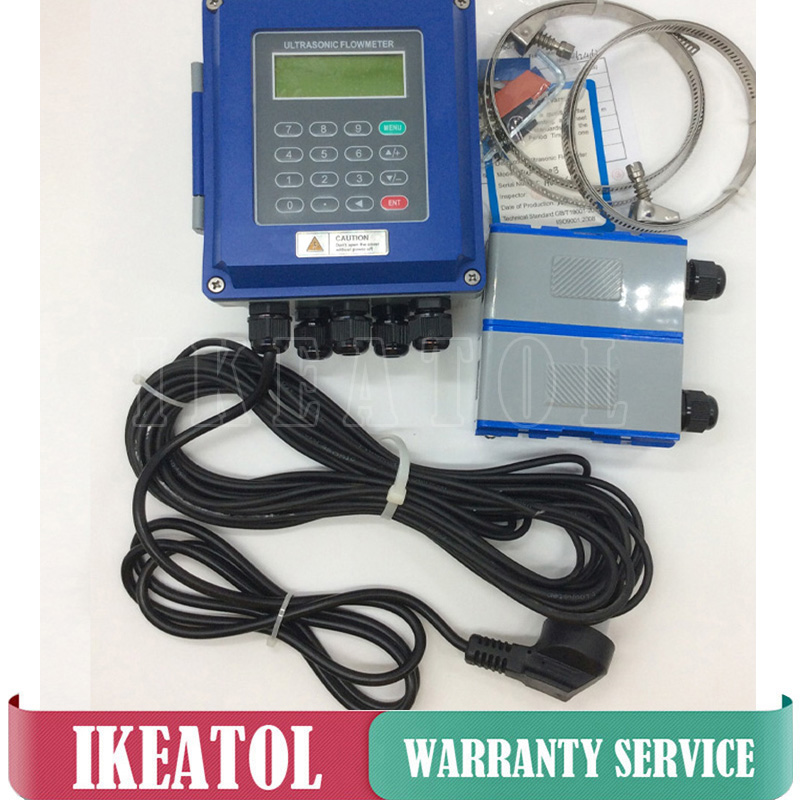 Digital Ultrasonic Liquid Flowmeters TUF-2000B-TS-2 Transducer DN15mm-100mm Wall Mounted Type IP67 Protection Flow Meter