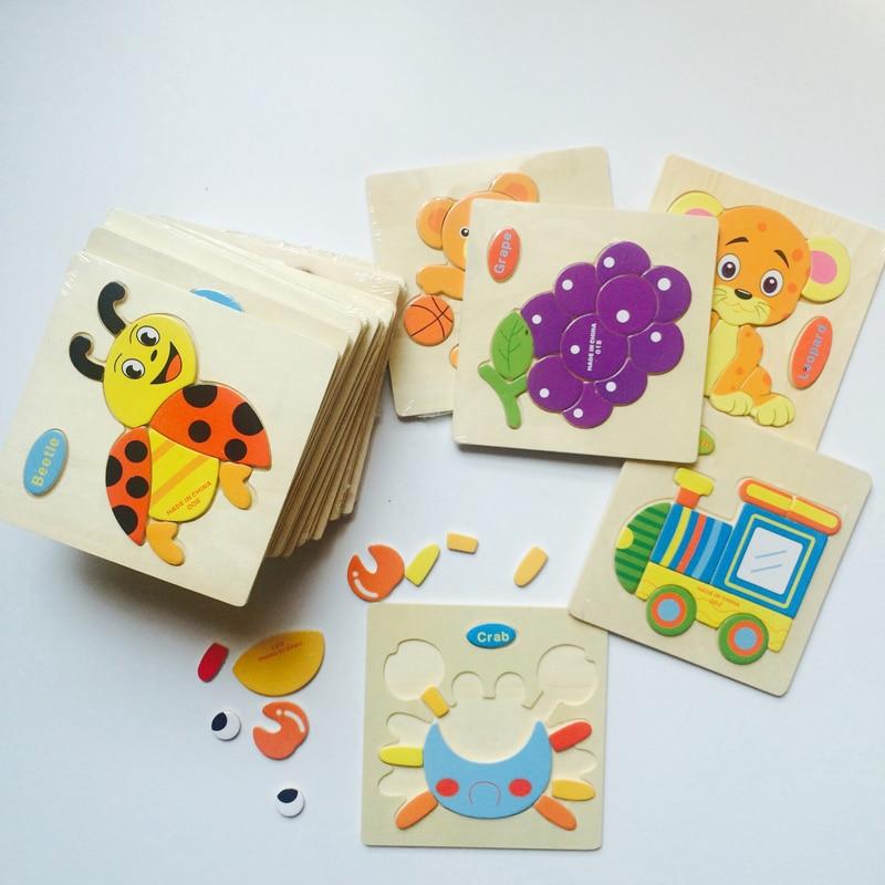 3D puzzle kirakós fa játékok gyerekek rajzfilm állati forgalom rejtvények intelligencia korai oktatási játékok
