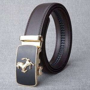 Image 3 - Cinturón de piel auténtica con hebilla automática para hombre, cinturones hebilla de aleación, de lujo