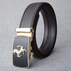Image 3 - Hot Sell Brand Horse Designer Automatic Buckle Belt Men Genuine Leather Belt Man Luxury Men Belts Alloy Buckle Best As Gift
