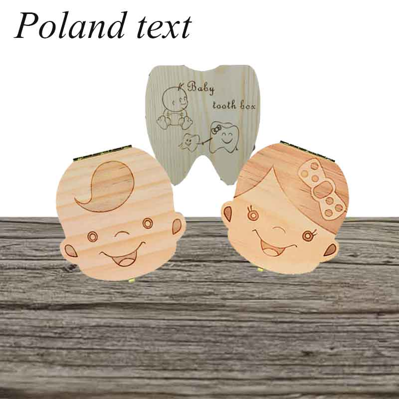 Poland/ EnglishBaby Wood Tooth Box Organizer Milk Teeth Storage Collect Teeth Dropshiping