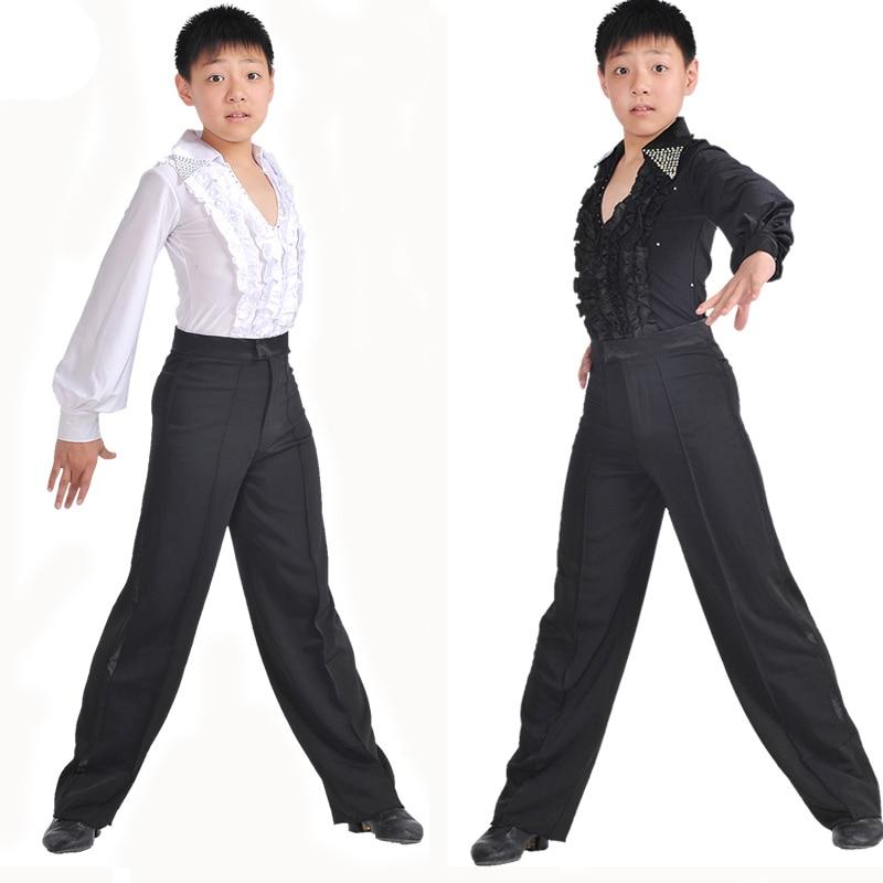 Klassiska pojkar Ballroom Dance Clothing Blå Svart Vit Lantern Sleeve Latin Dance Kostymer