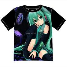 Envío Libre Miku Hatsune VOCALOID Anime manga T-shirt Las Mujeres de Los Hombres Cosplay Camiseta de Malla Negro Tee 006