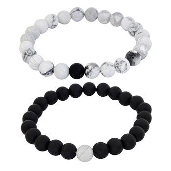 Pulseras de cuentas 1 Juego de cuentas sanadoras equilibrio pulsera Yoga vida energía Lava piedra Ojo de Tigre Brazalete de piedra para Mujeres Hombres joyería