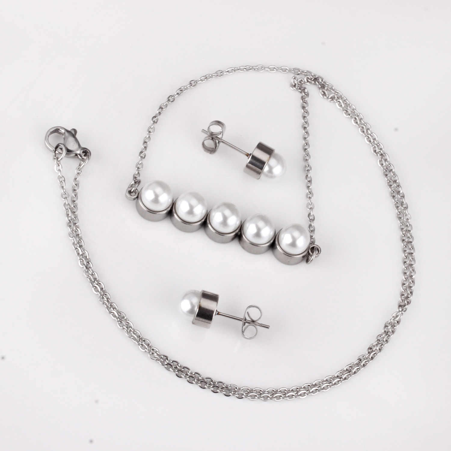 LUXUKISSKIDS New Fake Pearl Wedding Jewelry Set Crystal Necklace Fine Jewelry Party Women Necklace Bridal Earrings