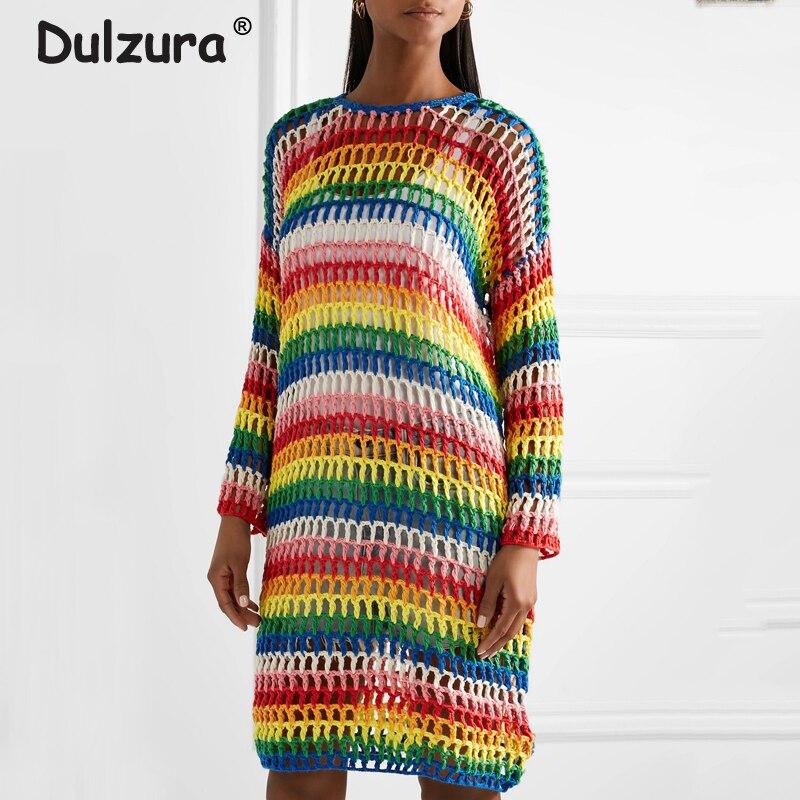 rayé Robes Dress New Automne Longues Brand Longueur 2018 Rainbow Crochet Évider Femmes Streetwear Robe Arc en Genou Manches tEq1wcRT
