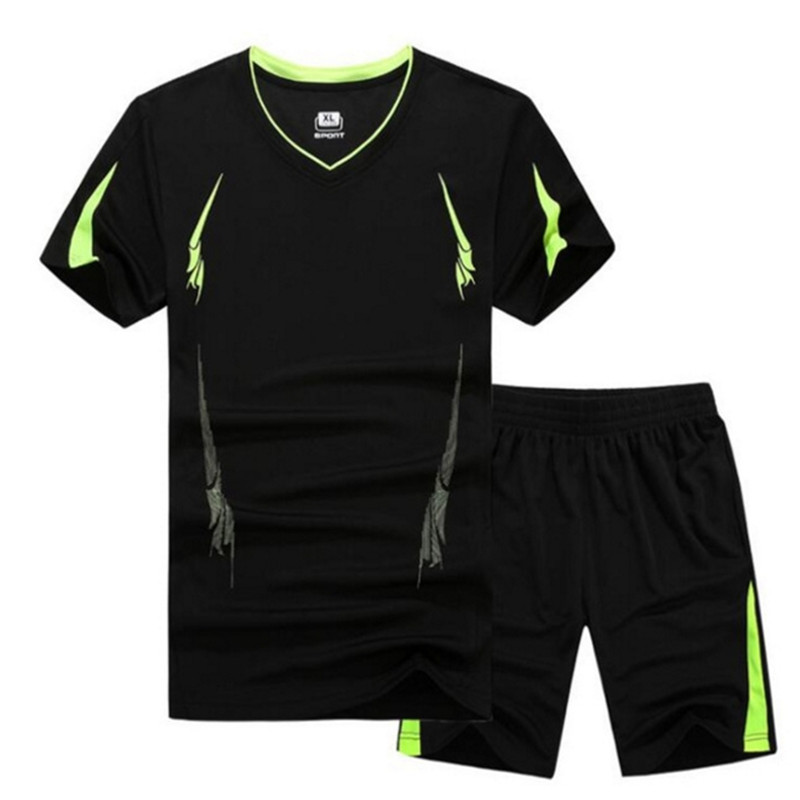 Male Breathable Casual T Shirts +Shorts Men's Tracksuits Sportswear Size 6XL 7XL 8XL 9XL Summer Quick Dry Sporting Suit Sets
