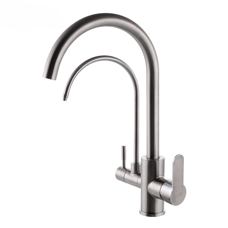 304 stainless steel faucet hot and cold water + pure water combination brushed rotating kitchen combo lo4122 bering 10729 767