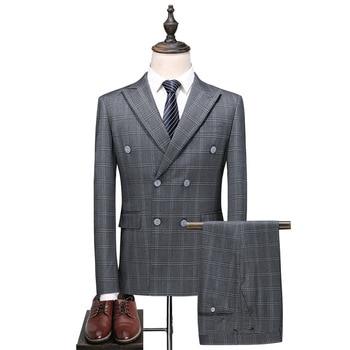 Men's suit three-piece suit (jacket + pants + vest) men's high-end casual business suit men's plaid fashion classic suits