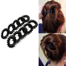 5pcs Black Telephone Wire Line Elastic Bands For Hair Ties Spring Rubber  Band Gum For Hair Accessories Hair Rubber Rope a537f06e4df