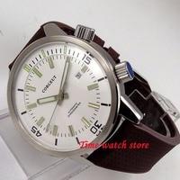 45 мм Corgeut мужские часы с белым циферблатом светящиеся руки 2 Корона Безель 21 jewels Miyota автоматические движения наручные часы c139