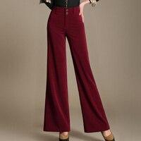 Kobiety pracują nosić szczupła wysokiej talii spodnie flare rocznika kariera ol luźne nogawki długie spodnie spodnie