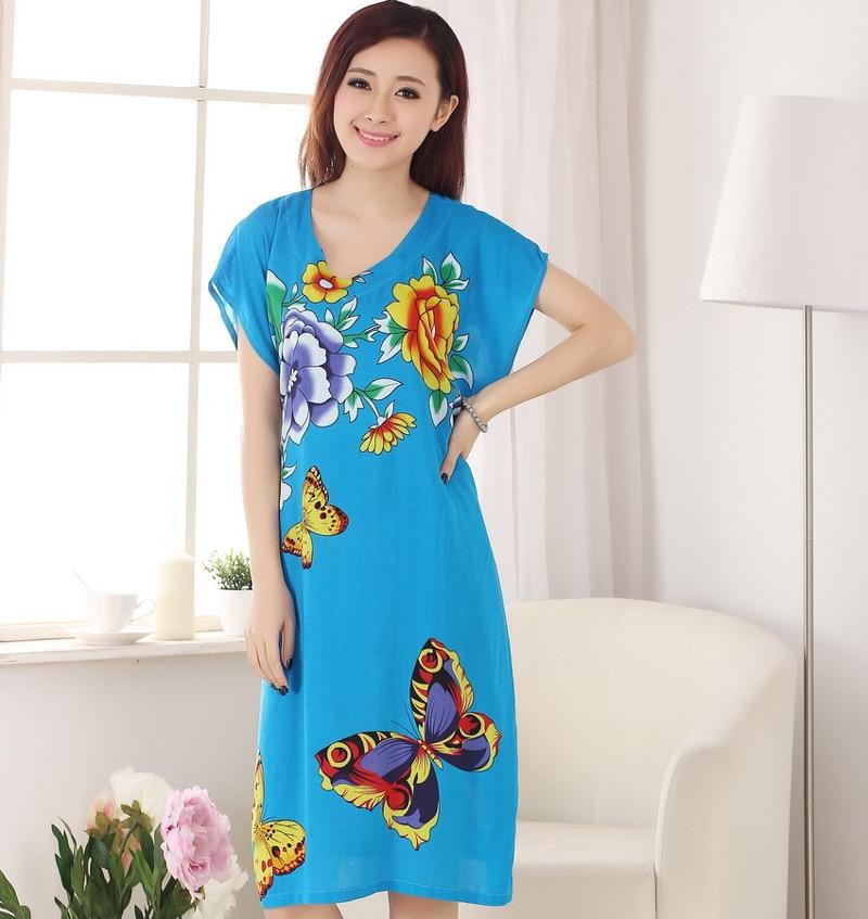 Stylish Blue Womens Summer Casual Robe Dress Flower&Butterfly Print Nightgown Soft Cotton Sleepwear Bath Gown One Size A-136