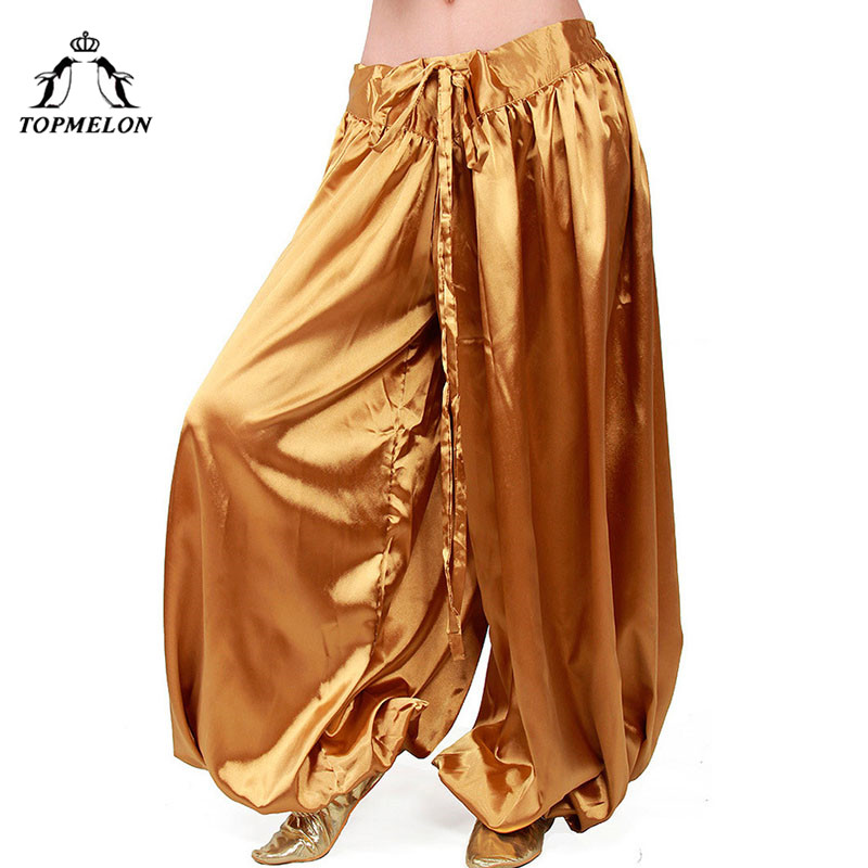 TOPMELON Pants for Belly Dancing Low Waist Drop Sexy Dance Clothes for Women Smooth Loose Solid Pants Gold Blue Red Purple Navy