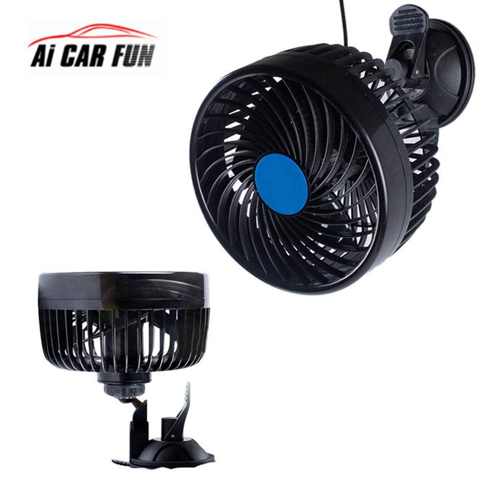 Car Fan 12V Single Head Sucker heat dissipation 90W Cigarette Lighter 6 Inch Car Fan Strong Wind Suction Cup Fan Speed Adjusting