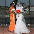 2017 African Wedding dress Scoop Lace Appliqued Mermaid Bridal Gowns Customized Tulle Cheap Princess vestido de noivas 2016