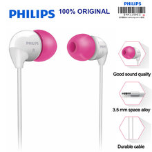 Philips SHE3501 In-Ear Earphone Flat Head Earbuds 3.5mm Wired Headsets Super Bass Earphones for Xiaomi LG Official Certificatio(China)