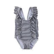 Cute Newborn Baby Girls Striped Sleeveless O Neck Swimwear Swimsuit Bikini Bathing Suit One-Piece
