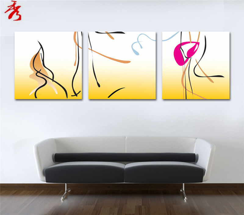 Abstract Art Curved lines drawing Canvas Printing Painting Modular ...