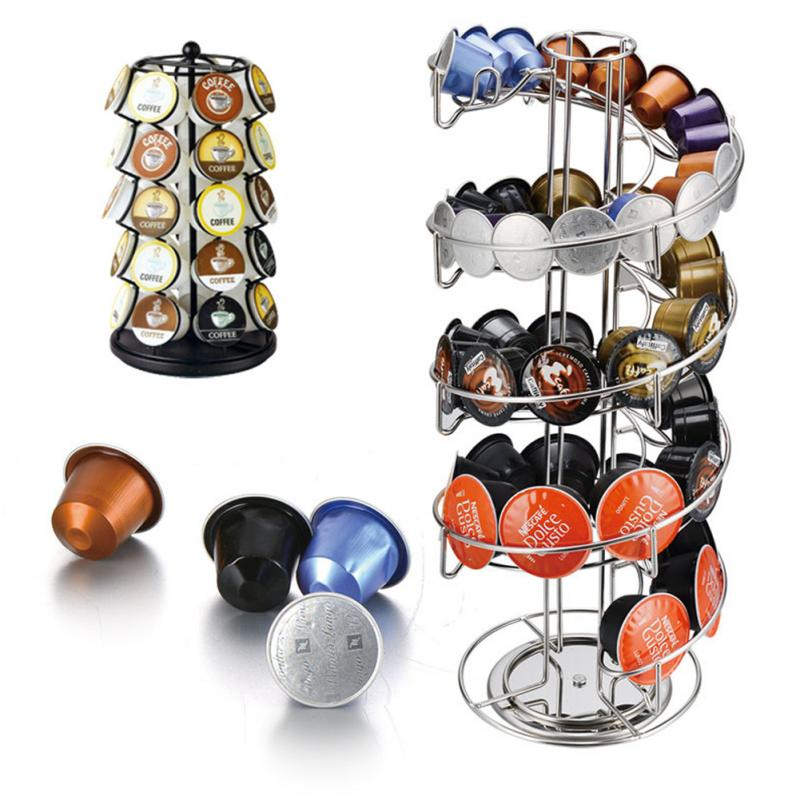 1Pcs Coffee Pod Holder Rack Revolving Rotating Coffee Capsule Stand Tower Storage Up to 30Pcs Dolce Gusto Capsules Drop Shipping