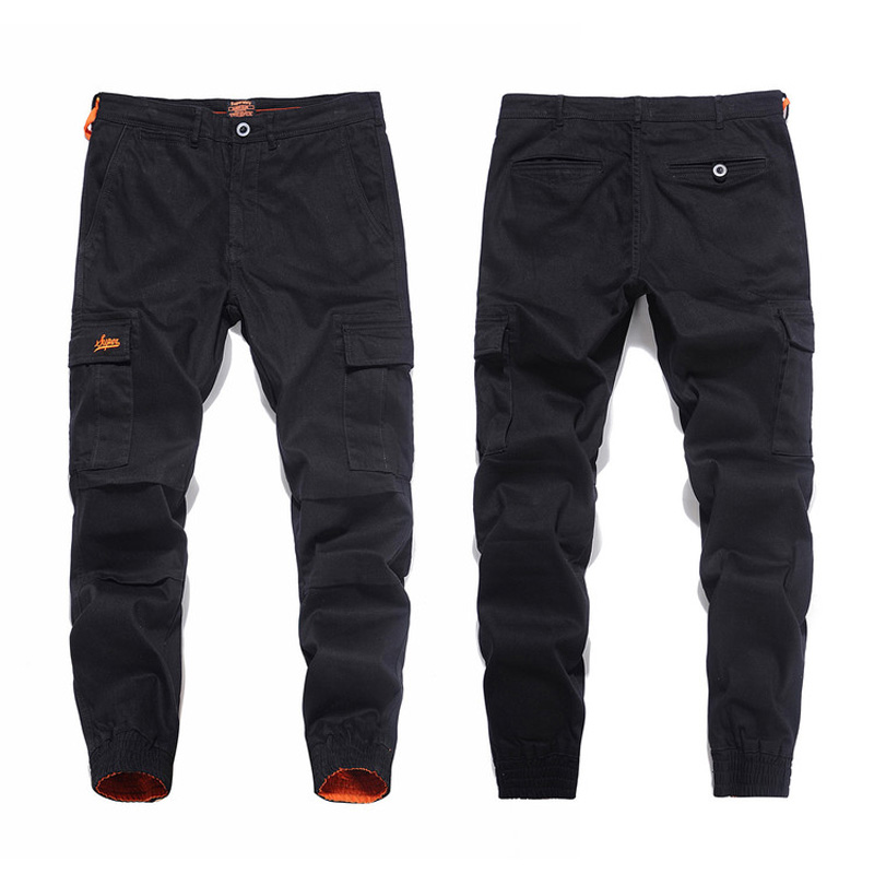New Arrival Fashion Men Jeans Jogger Pants Slim Leg Open Black Color Denim Ankle Banded Jeans Men Brand Big Pocket Cargo Pants anne klein new deep black slim leg ponte director women s 2 dress pants $89 361