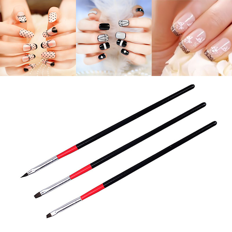ELECOOL 3Pcs/Set Black Handle Painting Drawing Pen Extension Nail Art Polish Brush Pen UV Gel Polish Manicure Tool Wholesale пластик abs флюорисцентно зеленый