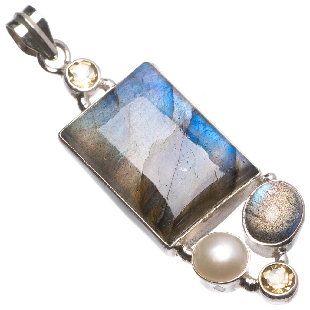 Natural Labradorite,River Pearl and Citrine Handmade Vintage 925 Sterling Silver Pendant 2 1/4 U0035