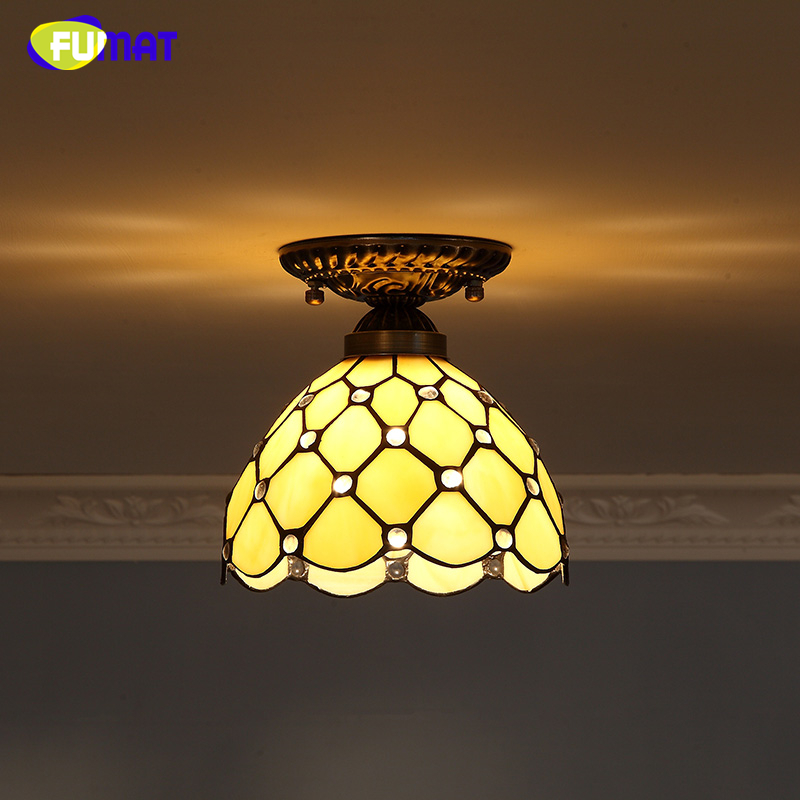 FUMAT Baroque Stained Glass Lamp European Retro  Indoor Light Fixtures For Front porch Aisle Vitrage Lights Mosaic Ceiling Lamps tiffany baroque sunflower stained glass iron mermaid wall lamp indoor bedside lamps wall lights for home ac 110v 220v e27