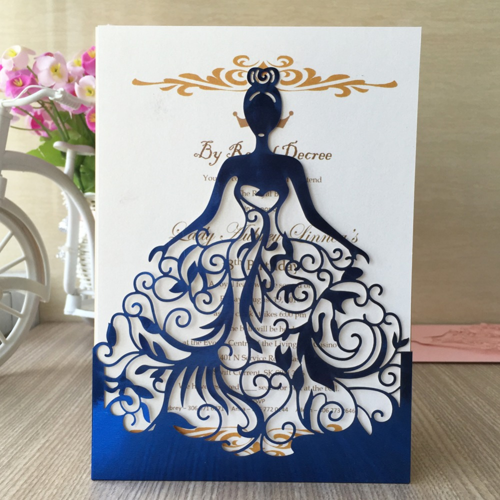 Metallic Blue 50pcs Wedding Invitation Cards Laser Cut