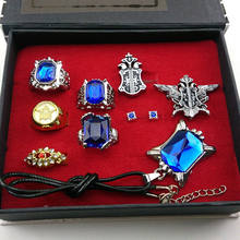 9pcs Black butler Kuroshitsuji Ciel Phantomhive Cosplay Rings+ Necklace+Ear-nail earring studs Jewelry Set(China)