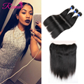 8A Full 13x4 Lace Frontal Closure With Bundles Straight Peruvian Virgin Hair With Closure Ear To Ear Human Hair With Frontal HC