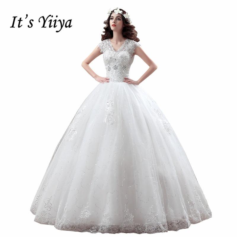 Gratis frakt YiiYa 2016 nya billiga vita bröllopsklänningar frocks blommor speciell bröllopsklänning prinsessan Vestidos De Novia XXN122