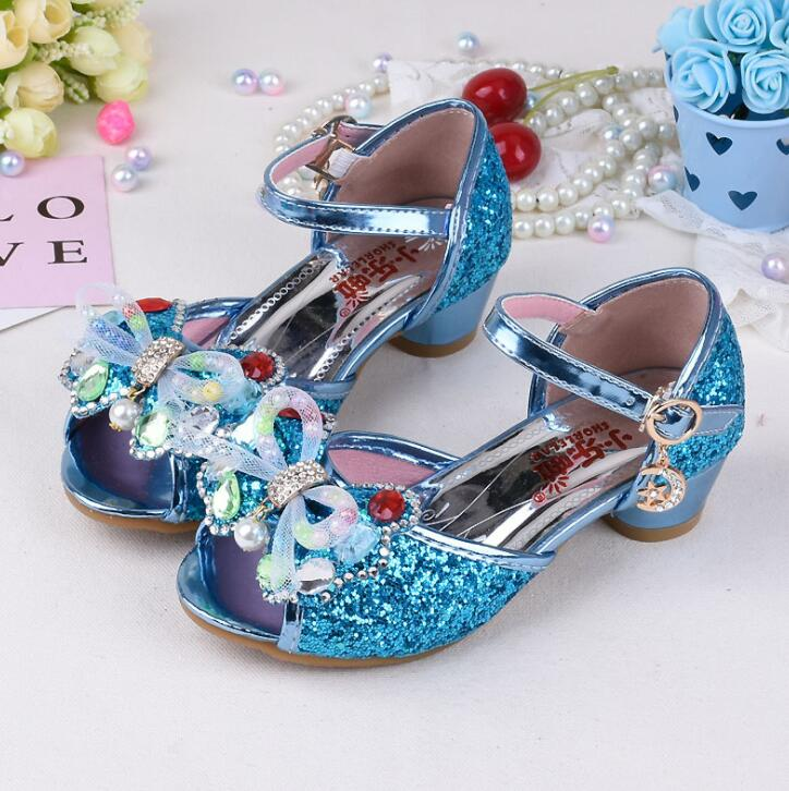 New Autumn Summer Children Shoes Girls Bow Beading Leather Low Heel Slip Sandals For Baby Chaussure menina Pink Blue Gold