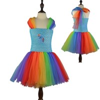 Minnie MLP Cartoon Design Kids Girl Fluffy Tulle Dresses For Summer Baby Girls Cosplay Tutu Dress