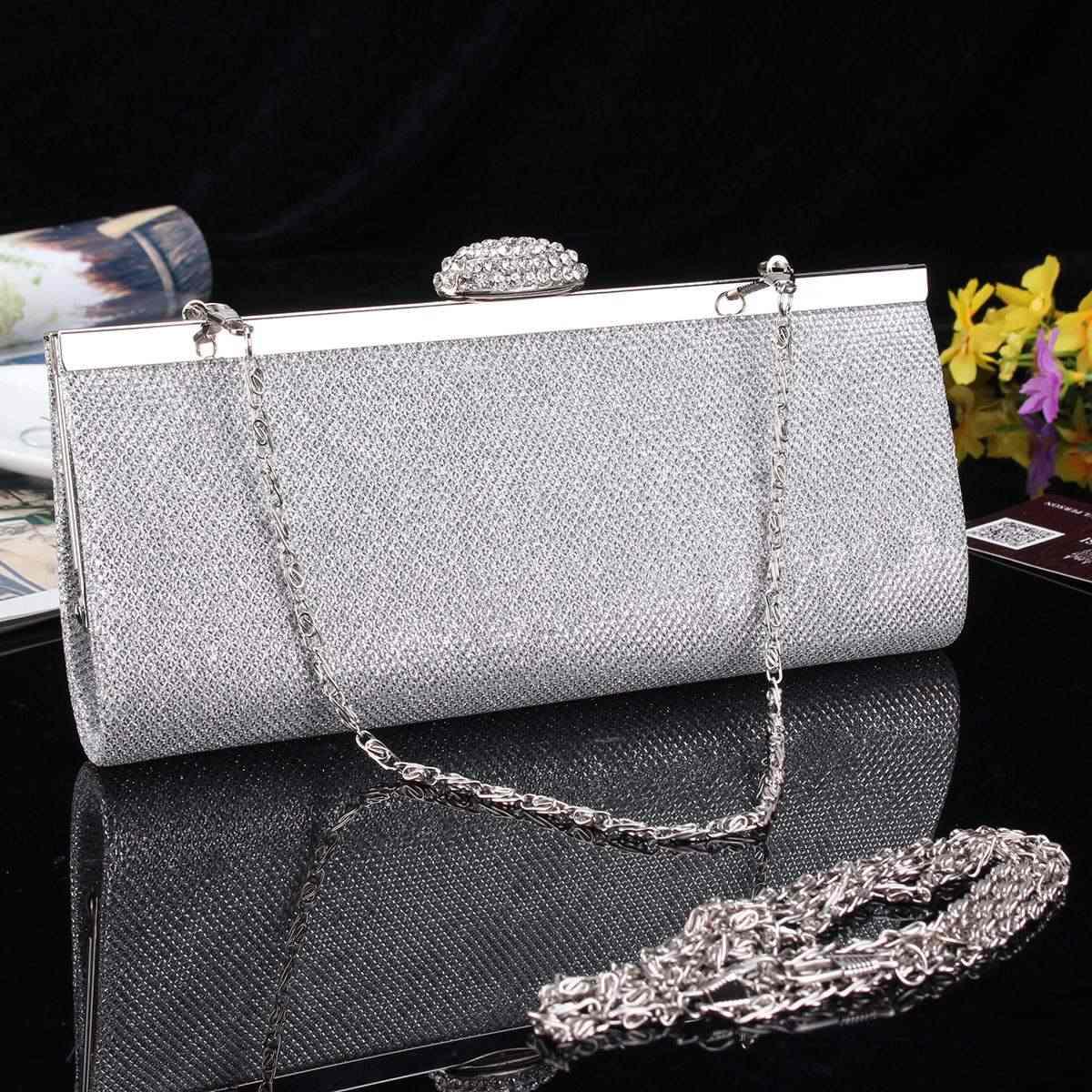 Серебряный Роскошный вечерний клатч, модные стразы, женская вечерняя сумочка, Свадебная вечерняя сумочка, клатч, сумочка, женский клатч, bolsos muje