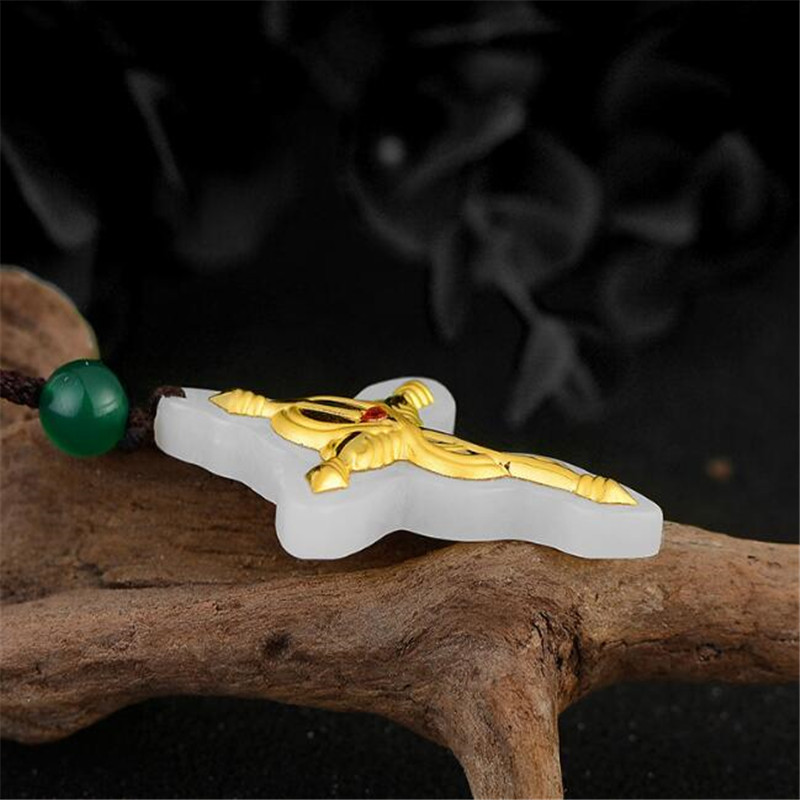 Hetian Jade Pendant For Men and Women Cross Jade Pendant Necklace pattern White High Quality in Pendants from Jewelry Accessories