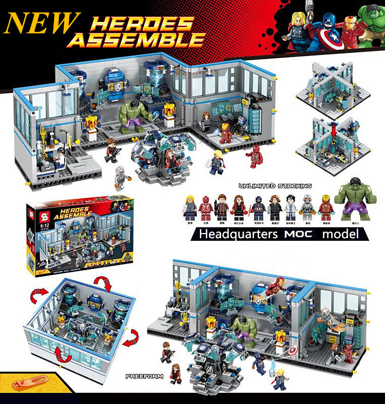 ФОТО 2016 New SY368 1521Pcs Super Heroes Avengers Headquarters Model Building Kits Blocks Bricks Toys For Kids Lepin Kazi Bela Sluban