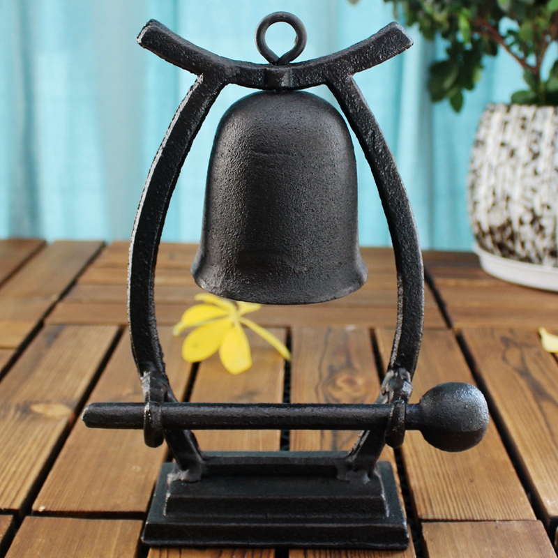 1 Vintage Coffee Bar Tabletop Decor Cast Iron On Dinner Service Calling Hand Knocking Bell