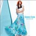 2015 Новых прибытия женщин мода лето длинная юбка чешские шифон печати a-line юбка длина пола упругие талии юбки плюс размер
