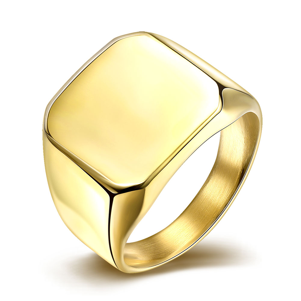 Fashion Smooth Square titanium Steel Ring gold Color Rings For Men Jewelry jewellery Anel Anillos Aneis Bague Anelli Gift A264