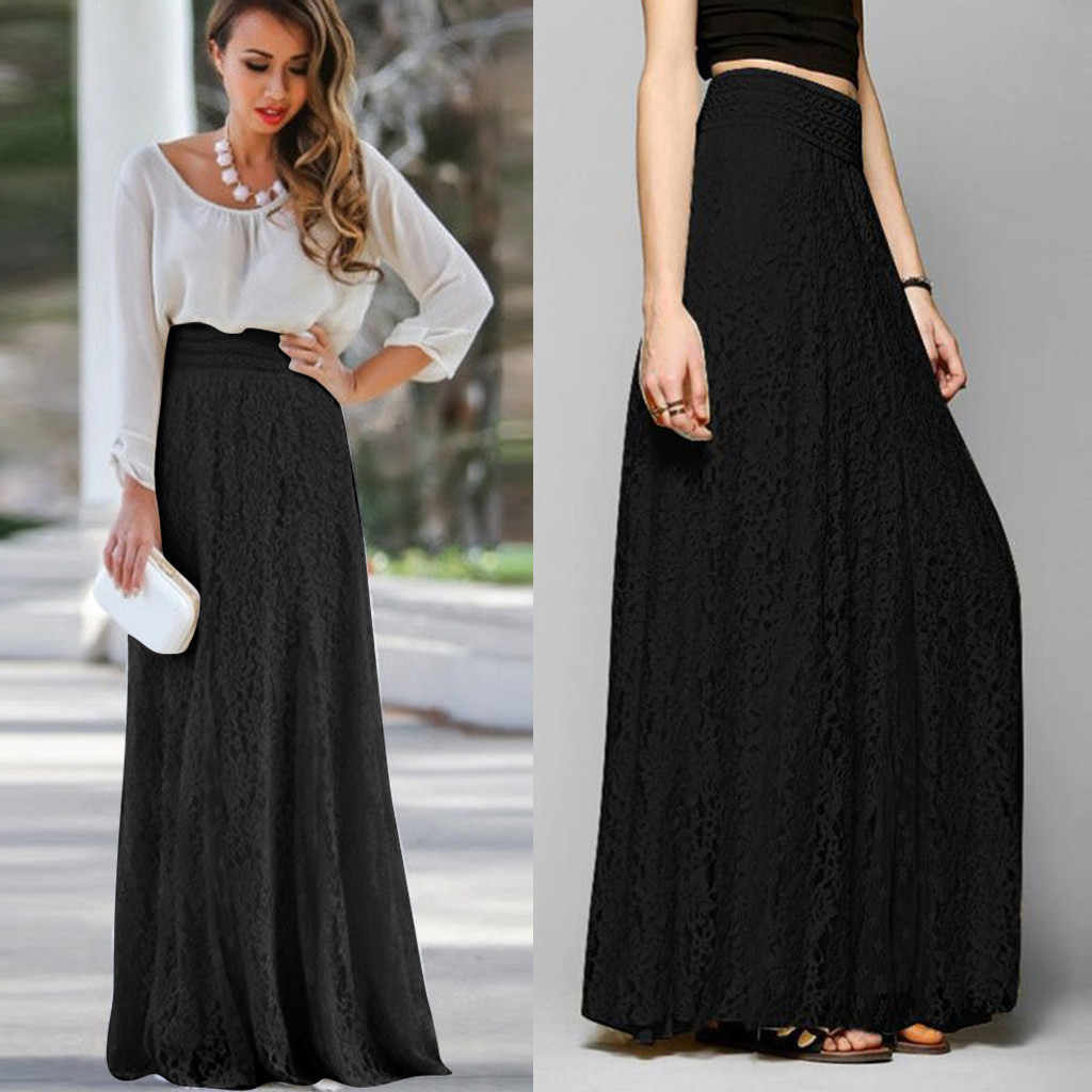 Women Lace Double Layer Pleated Long Maxi Skirt Elastic Waist Skirt Fashion Loose Elegant Chic Long Ladies High Waist Skirt