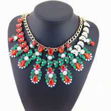 2015 Za Design Leveling Fashion Necklace Noble Precious Crystal Statement Necklace Green Crystal Leaves Necklaces & Pendants